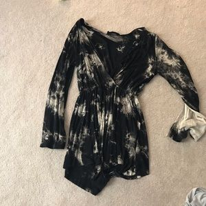 Black and cream tie dye romper